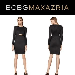 BCBGMaxAzria Whitney Black Faux Suede Cutout Dress